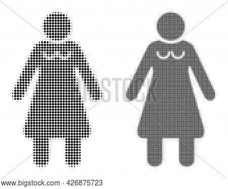 Dot Halftone Old Woman Icon. Vector Halftone Composition Of Old Woman Icon Constructed With Circle P