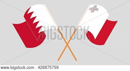 Crossed And Waving Flags Of Malta And Bahrain