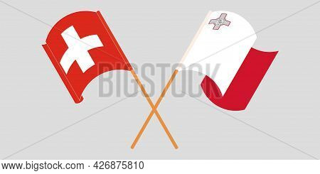Crossed And Waving Flags Of Malta And Switzerland