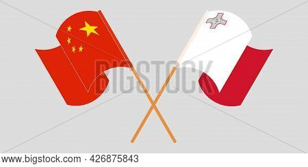 Crossed And Waving Flags Of Malta And China