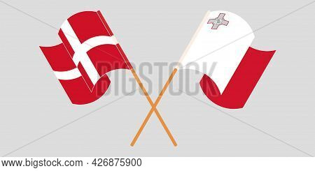 Crossed And Waving Flags Of Malta And Denmark