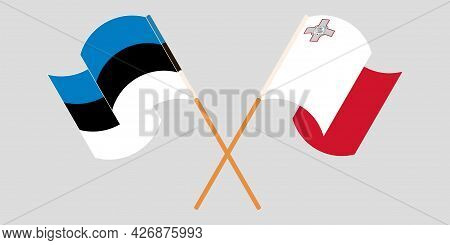 Crossed And Waving Flags Of Malta And Estonia