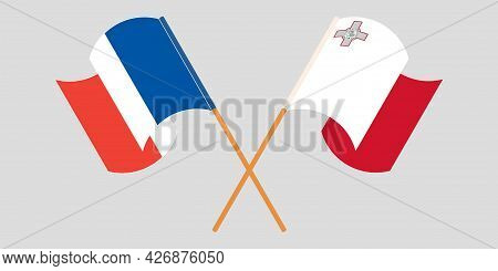 Crossed And Waving Flags Of Malta And France