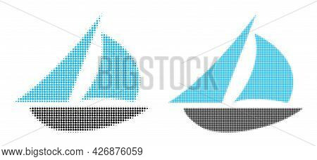 Dotted Halftone Sailing Boat Icon. Vector Halftone Mosaic Of Sailing Boat Icon Formed Of Circle Pixe