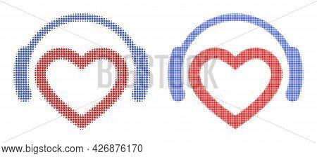 Pixel Halftone Favourite Dj Headphones Icon. Vector Halftone Composition Of Favourite Dj Headphones