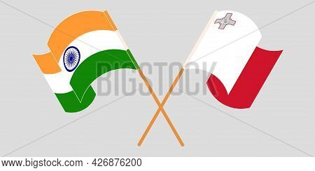 Crossed And Waving Flags Of Malta And India