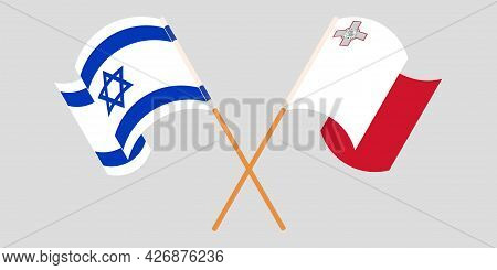 Crossed And Waving Flags Of Malta And Israel