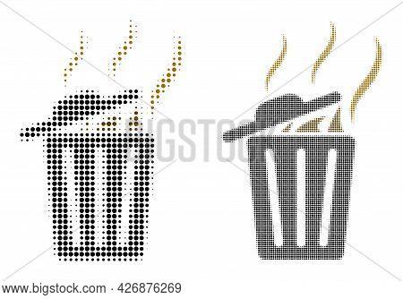 Pixel Halftone Smell Trash Can Icon. Vector Halftone Pattern Of Smell Trash Can Icon Composed Of Cir