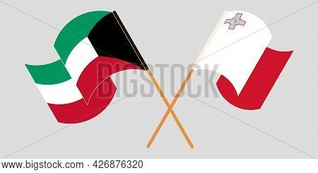 Crossed And Waving Flags Of Malta And Kuwait