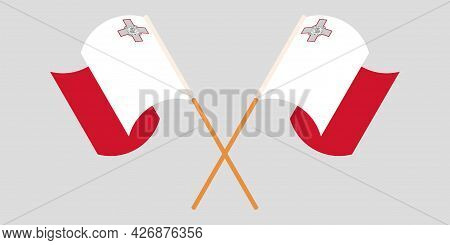 Crossed And Waving Flags Of Malta And Malta