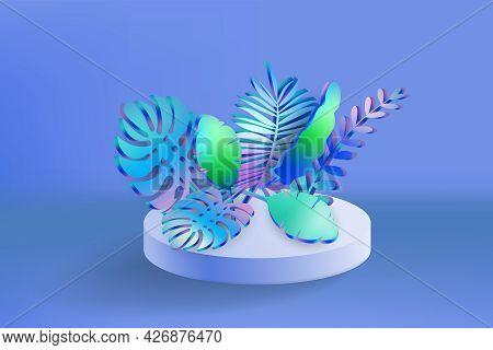 3d Tropical Leaves Scene Podium, Botanical Background. Render Vector Foliage Pedestal, Stage Illustr