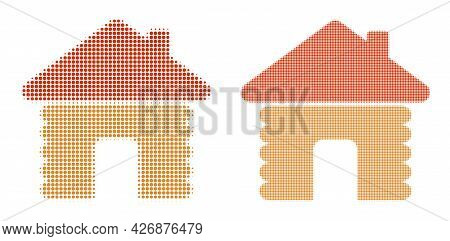 Dotted Halftone Wooden House Icon. Vector Halftone Collage Of Wooden House Icon Organized Of Circle