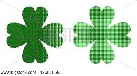 Pixel Halftone Four Leaf Clover Icon. Vector Halftone Mosaic Of Four Leaf Clover Icon Constructed Of