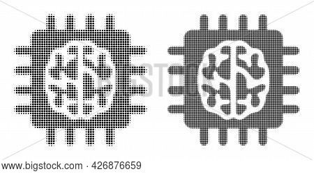 Dotted Halftone Brain Chip Icon. Vector Halftone Pattern Of Brain Chip Pictogram Combined Of Spheric