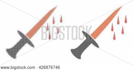Pixel Halftone Blood Sword Icon. Vector Halftone Composition Of Blood Sword Icon Combined Of Round P