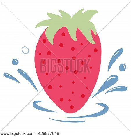 Strawberries With Water Drops. Vector Illustration In Cartoon Style Isolated On A White Background.
