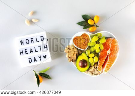 Healthy Foods For Boosting Immunity And Cold Remedies, Top View. World Health Day.