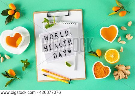 Tea With Lemon And Honey, Immunity Boosting And Cold Remedies, Top View. World Health Day.