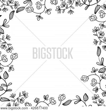 Simple Vector Frame Or Border Made From Doodle Twigs. Branches And Stems Of Plants With Flowers, Lea