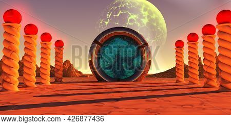 Ancient Portal 3d Illustration - A Portal Device On An Alien Planet Is Activated To Send Travelers O