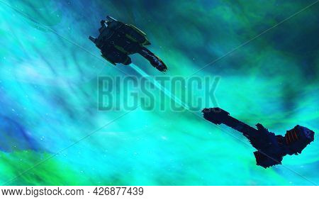 Battle In Space 3d Illustration - Two Enemies Fight Over Territory In This Future Space Fight With L