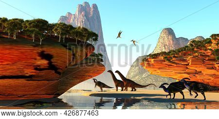Dinosaur Valley 3d Illustration - A Kaprosuchus Reptile Slinks Into A River As Alamosaurus And Paras