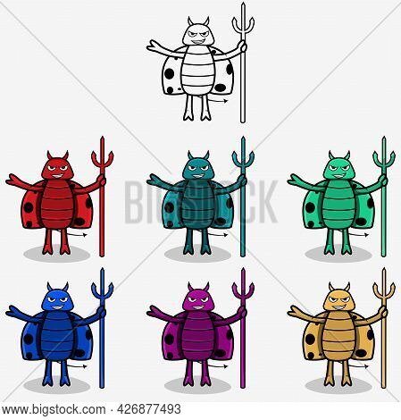 Six Colors And A Bug Devil Outline, White Colors Background, Vector And Illustration