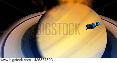 Spaceship Orbits Saturn 3d Illustration - A Spaceship From Earth Visits Saturn Which Is The Sixth Pl