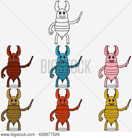 Six Color Termite Teaching Mascot Character,  White Colors Background, Vector And Illustration