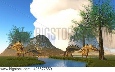 Stegosaurus Dinosaur River 3d Illustration - Stegosaurus Was A Heavily Armored Herbivorous Dinosaur