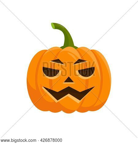 Orange Pumpkin Symbol Of Halloween Isolated On White Background. Pumpkin Face For Autumn Holiday Des