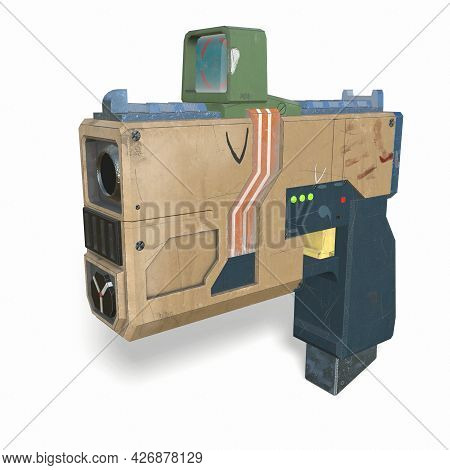 Cartoon Sci Fi Stylized Gun 3d-illustration 3d-rendering