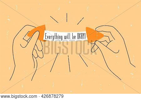 Vector Illustration With Linear Hands Holding A Broken Fortune Cookie. There Is Empty Space For Text