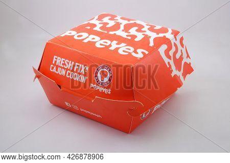 Manila, Ph - July 14 - Popeyes Cajun Chicken Burger Box On July 14, 2021 In Manila, Philippines.