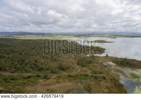 The Bushland Shores Of Kinchant Dam Queensland Australia On A Cloudy Day