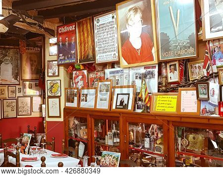 Tarbena Spain - August 26 2016; Interior Historic Quirky Restaurant Of Revolutionaries Full Of Memor
