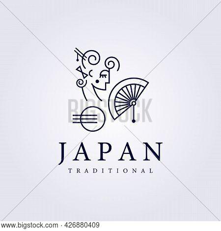 Geisha Japan Logo Salon , Traditional Dancer, Girl Vector Illustration Line Art Design