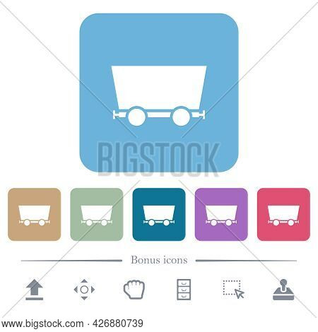 Mine Cart White Flat Icons On Color Rounded Square Backgrounds. 6 Bonus Icons Included