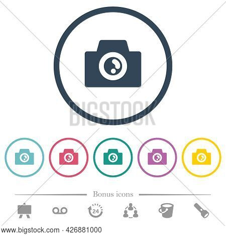 Camera Solid Flat Color Icons In Round Outlines. 6 Bonus Icons Included.