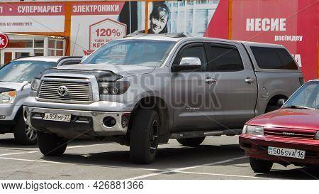 Ust-kamenogorssk, Kz - July 8, 2021. Car Toyota Tundra. Japanese Car.