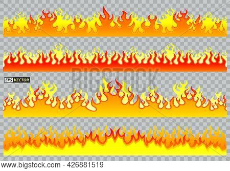Set Of Cartoon Fire Flat Design Isolated Or Fire Flaming Energy Effect Or Light Effect Of Flaming Fi