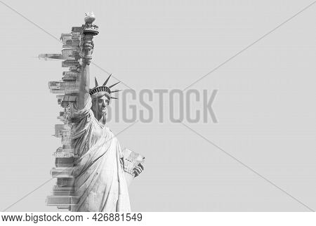 Double Exposure Image Of The Statue Of Liberty And New York Skyline With Cope Space. Toned Image