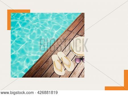 Photograph of flip flops, sunglasses and hat on wooden near the pool against grey background. summer holiday and vacation concept
