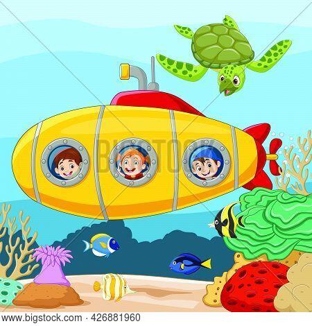 Vector Illustration Of Cartoon Happy Kids In Submarine Underwater Journey