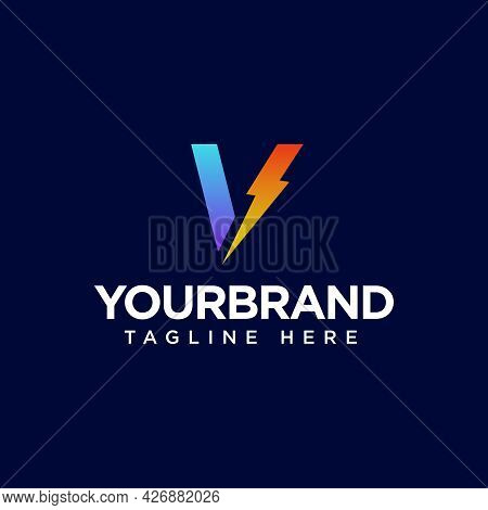 Initial Letter V Logo With Thunderbolt Lighting. Alphabet Suitable For Fast, Power, Flash, Electric,