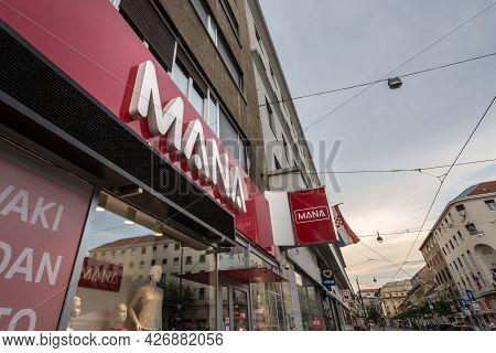 Zagreb, Croatia - June 19, 2021: Mana Moda  Logo On Their Local Stor In Zagreb. Mana Is A Croatia Fa