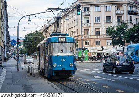 Zagreb, Croatia - June 19, 2021: Tatra T4yu Tram, Belonging To The Zagreb Tramway System, Zagrebacki