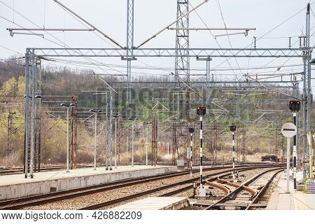 Recently Reconstructed Tracks On The Modernized Platforms Of A Suburban Train Station In A Capital C