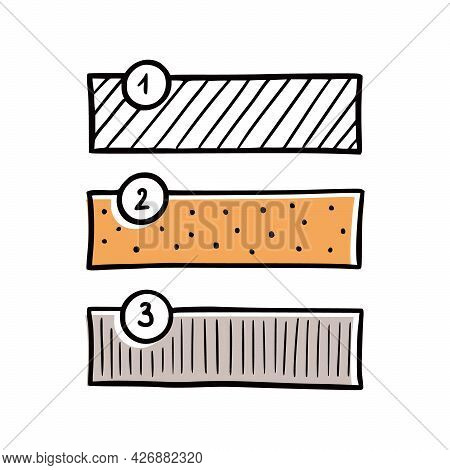 Scotch Tape Hand Drawn Note Element With Number. Doodle Sketch Scribble Style. Sticky Tape Vector Il