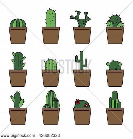 A Set Of Flowerpots. Decoration Floral. Spring Flower Illustration. Vector Illustration. Stock Image